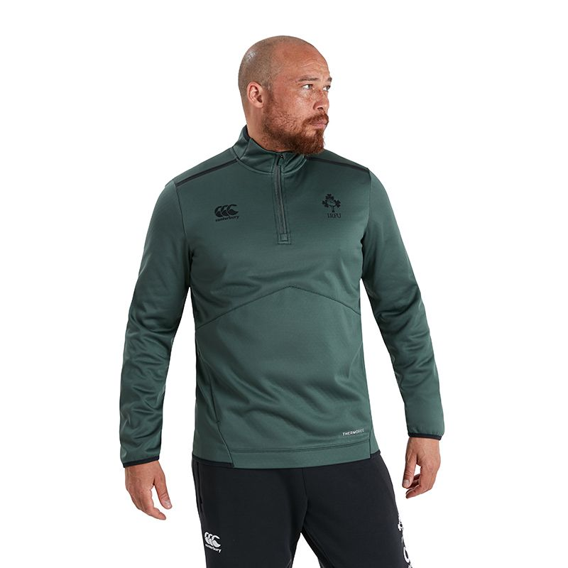Green Men's Canterbury IRFU quarter zip top with zip pockets from O'Neills.