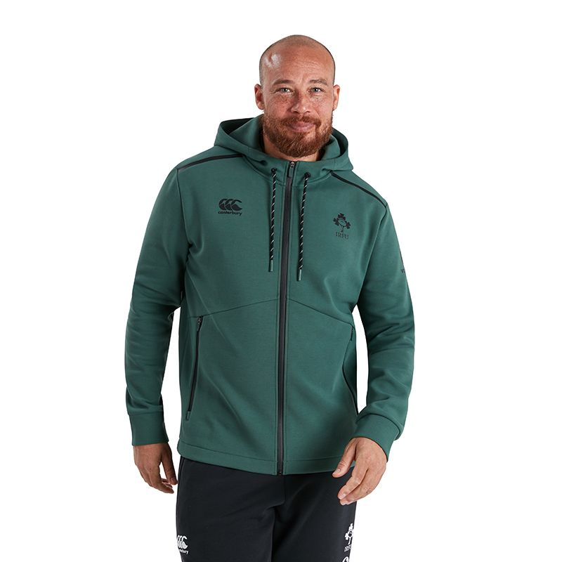 Green Men's Canterbury IRFU full zip hoodie with zipped side pockets from O'Neills.