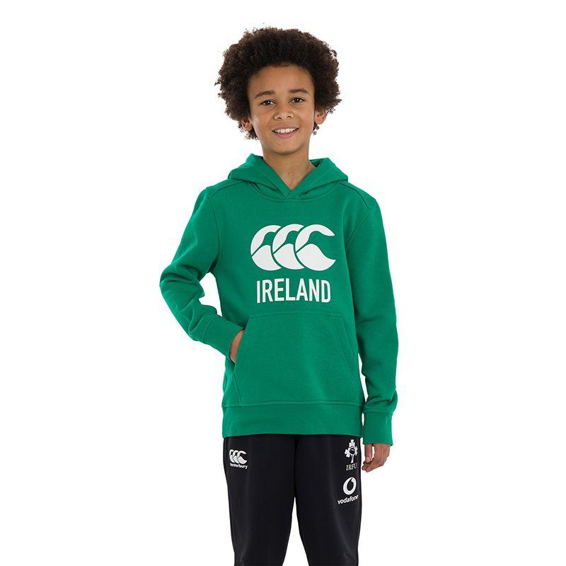 Green kids' Canterbury Ireland Rugby overhead hoodie with IRFU logo from O'Neills.