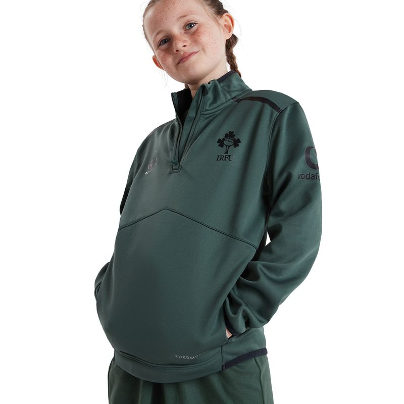 Green Kids' Canterbury IRFU quarter zip top with zip pockets from O'Neills.