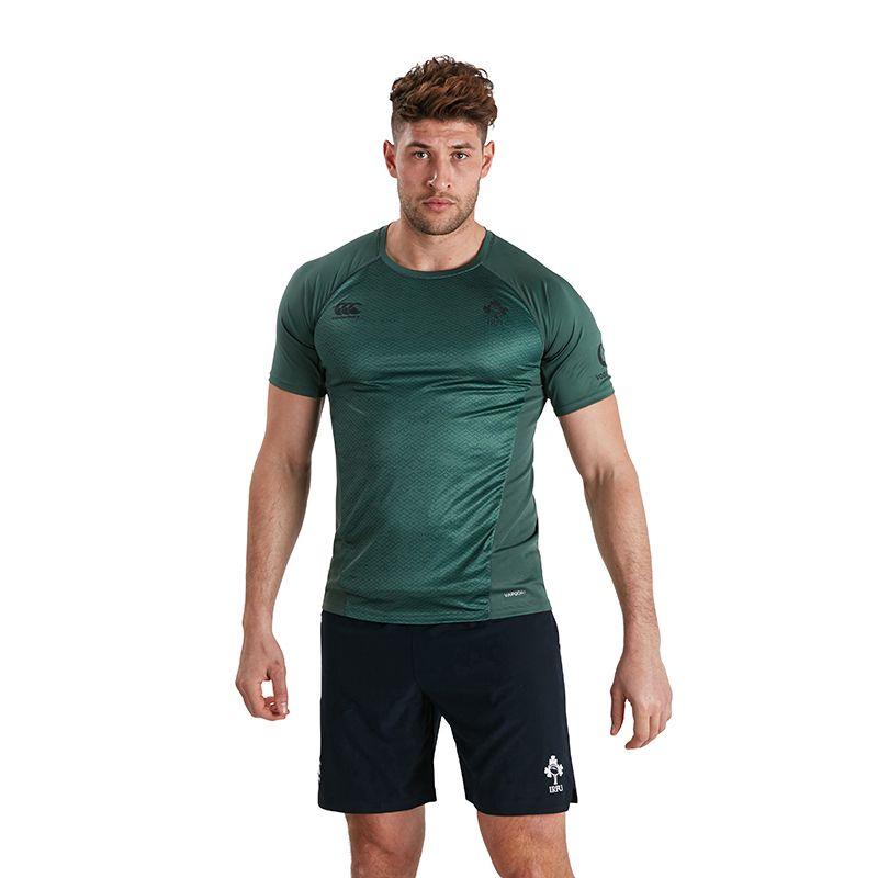 Green Men's Canterbury Ireland Rugby lightweight training t-shirt with IRFU logo from O'Neills.