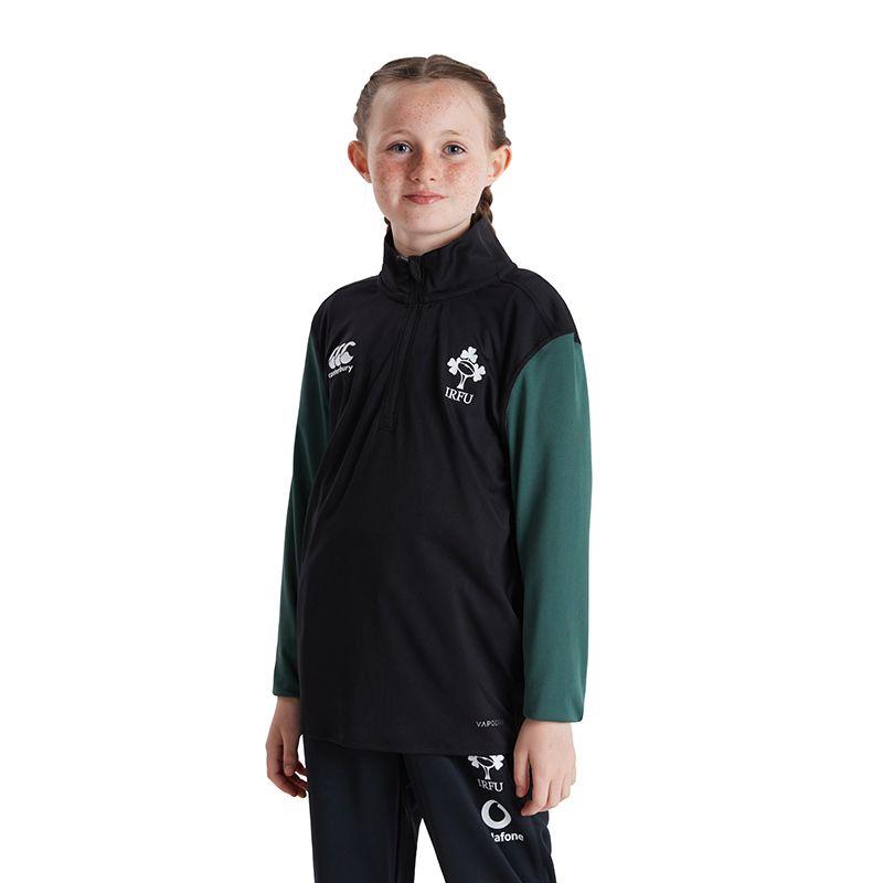 Green Kids' Canterbury IRFU quarter zip midlayer top with Ireland Rugby logo from O'Neills.