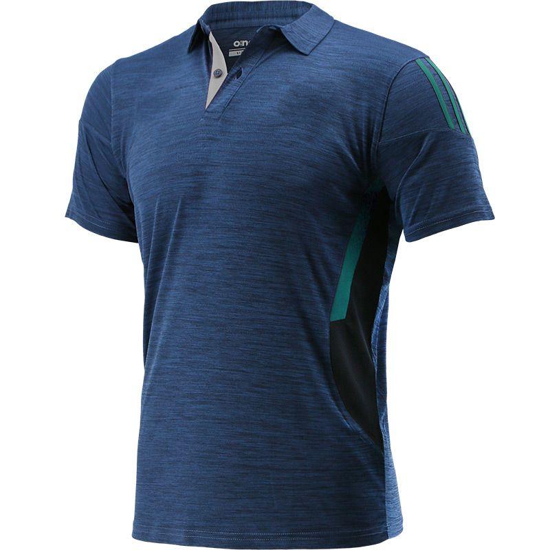 Men's Raven 2 Stripe Polo Shirt Marine / Green / Silver