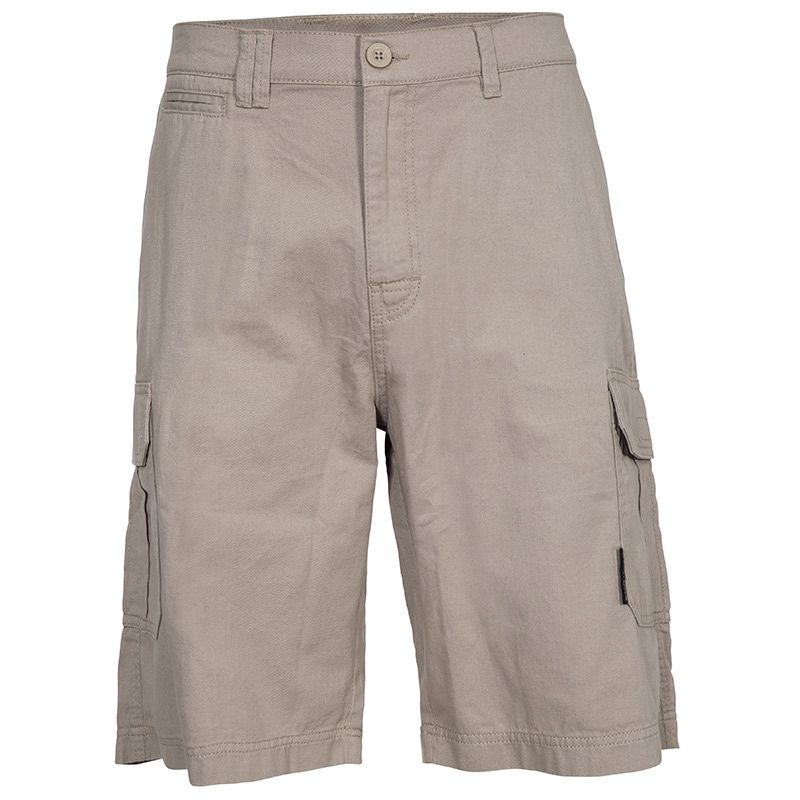 Beige Trespass men's outdoor hiking cargo shorts with side pockets from O'Neills.