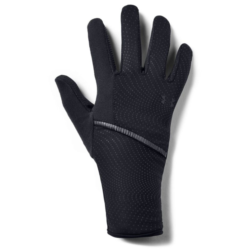 black Under Armour women's liner gloves with a tech touch print on thumbs and fingers from O'Neills