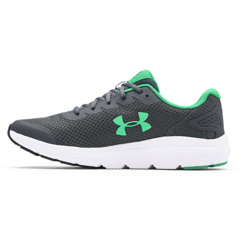 grey and green Under Armour men's runners with a lightweight, breathable mesh upper from O'Neills
