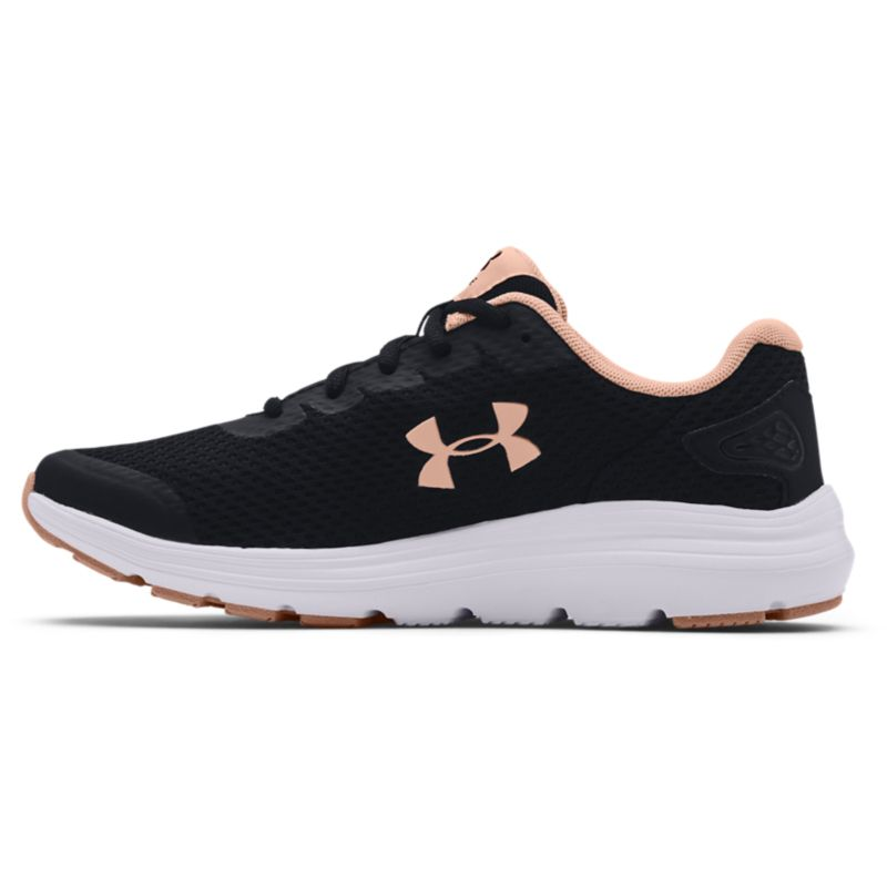 black, white and pink Under Armour women's running shoes, lightweight and breathable from O'Neills
