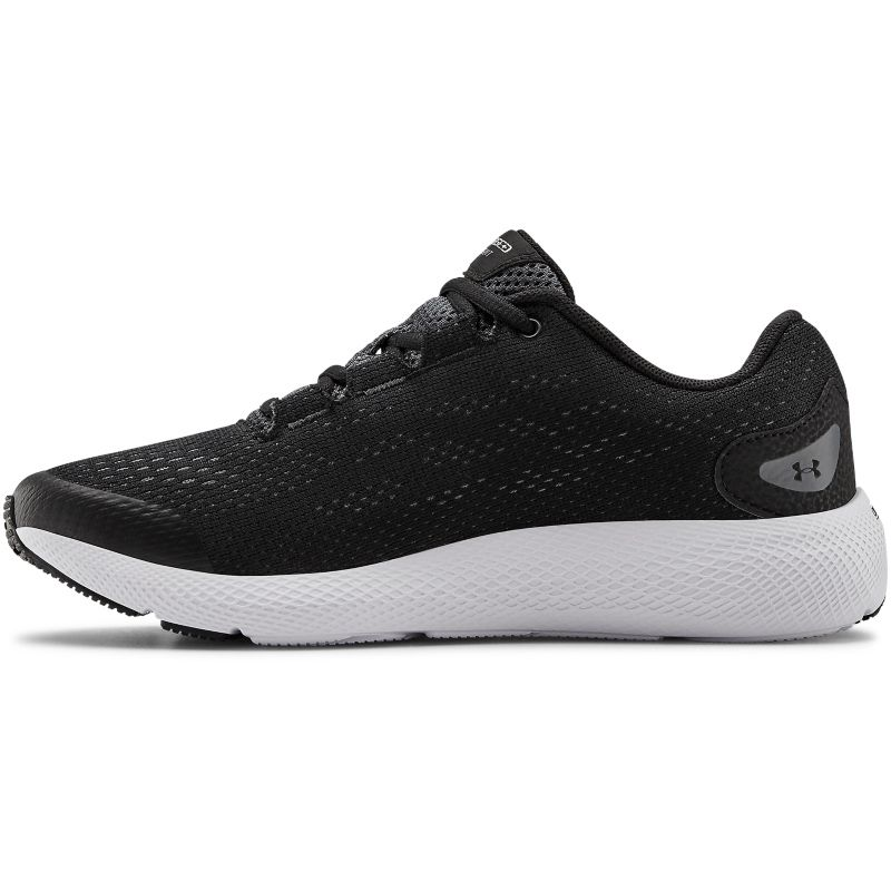 black and white Under Armour running shoes with a charged cushioning midsole from O'Neills