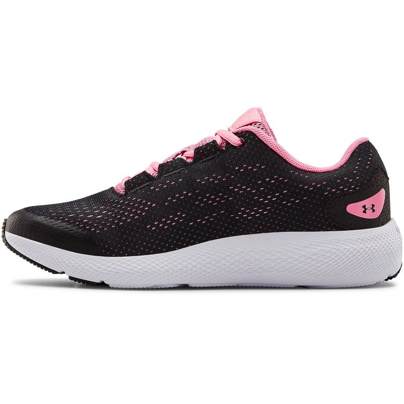 black, pink and white Under Armour running shoes with a charged cushioning midsole from O'Neills