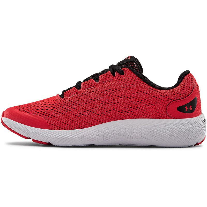red and black Under Armour running shoes with a charged cushioning midsole from O'Neills