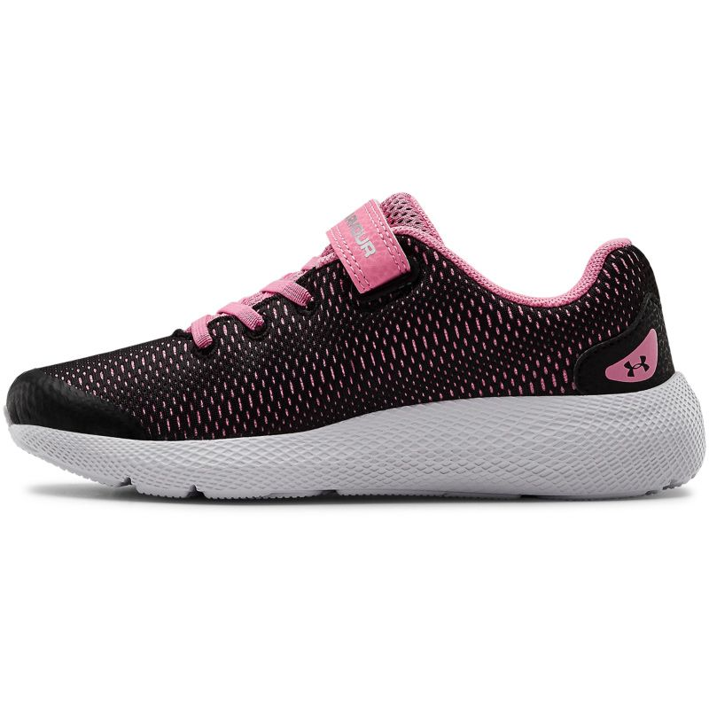 black, pink and silver Under Armour kids' runners with an adjustable hook & loop strap closure from O'Neills