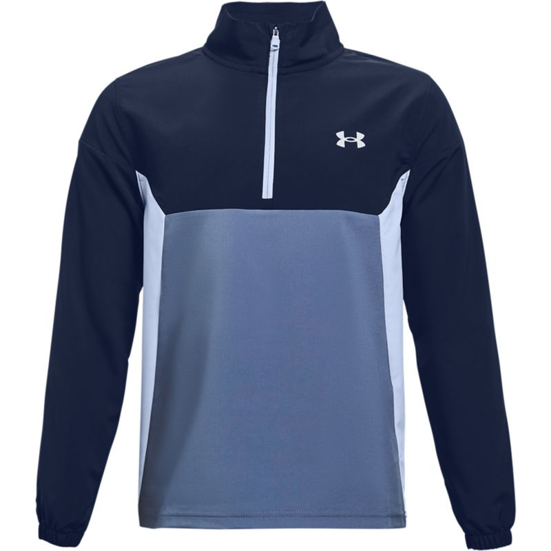 Navy and blue Under Armour kids' water resistant half zip top from O'Neills.