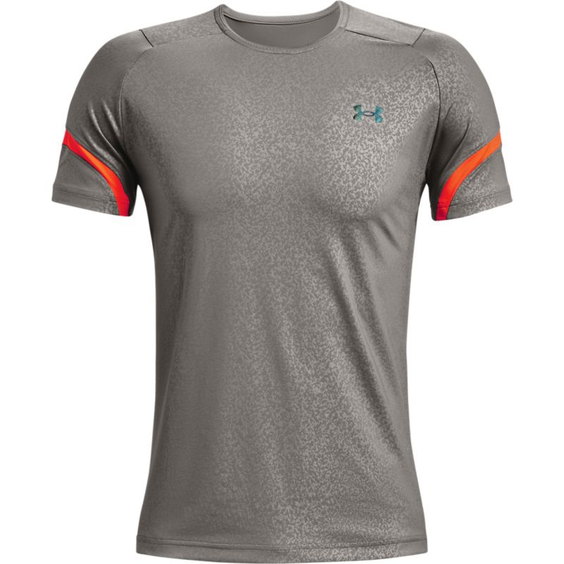 Grey and orange Under Armour men's short sleeve t-shirt with mesh panels from O'Neills.