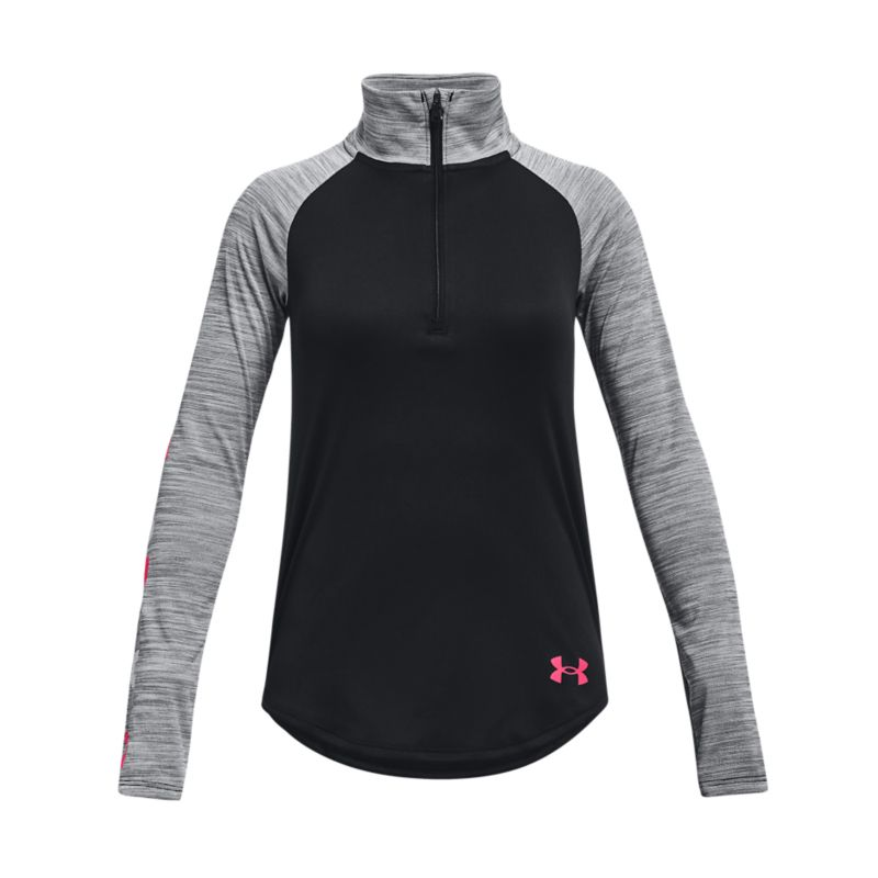 Black and Grey Under Armour Kid's half zip long sleeve training top from O'Neills.