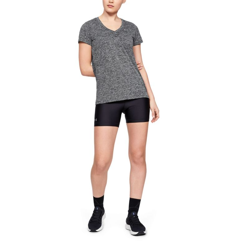 Under Armour Women's Tech™ SS V-Neck Twist T-Shirt Black / Metallic Silver