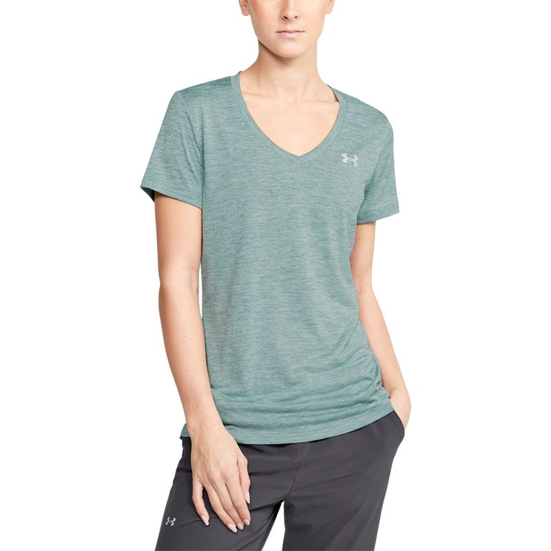 Under Armour Women's Tech SS V-Neck Twist Tee Hushed Turquoise / Metallic Silver