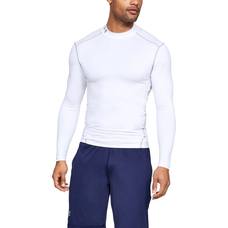 White Under Armour men's training baselayer with grey stitching from O'Neills.
