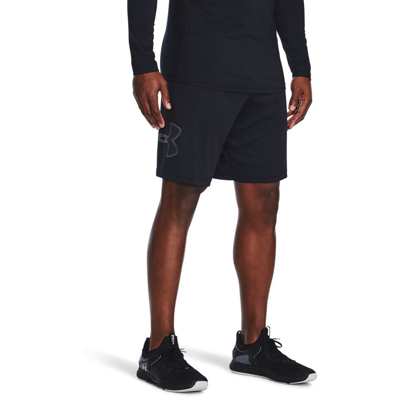 Black Under Armour men's shorts with graphic logo print from O'Neills.