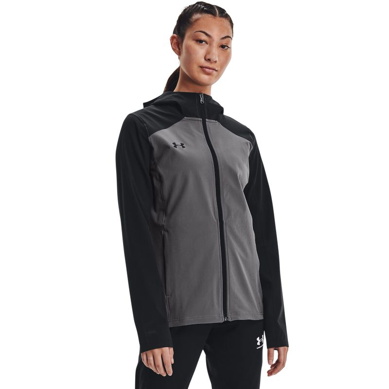 Black and grey Under Armour women's rain jacket with hood from O'Neills.