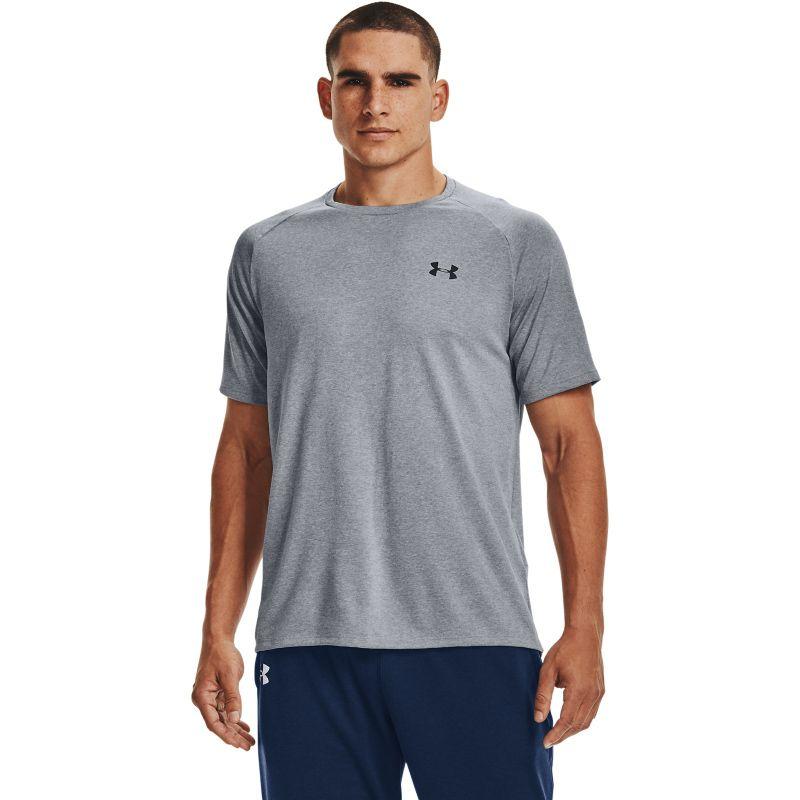 Grey Under Armour men's gym training short sleeve t-shirt from O'Neills.