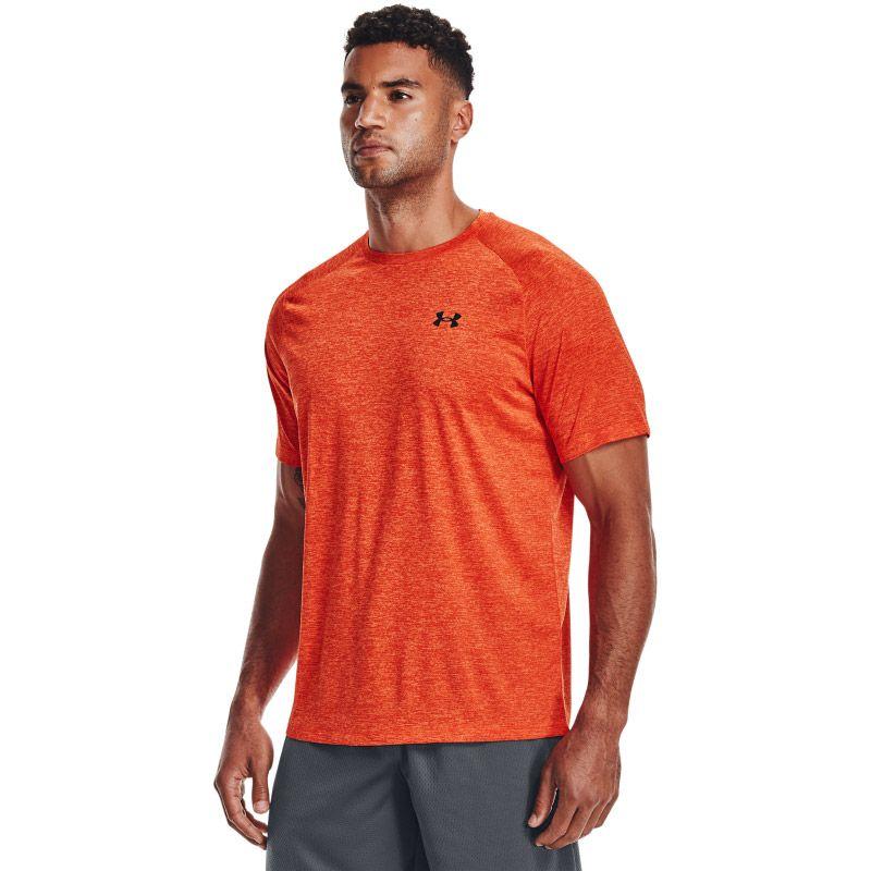 Orange Under Armour men's gym short sleeve t-shirt from O'Neills.