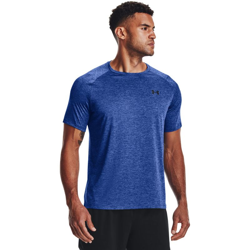 Blue Under Armour men's short sleeve t-shirt with a black logo on left chest from O'Neills.