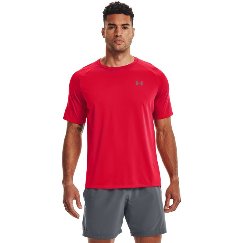 Red Under Armour men's t-shirt with grey UA logo on left chest from O'Neills.