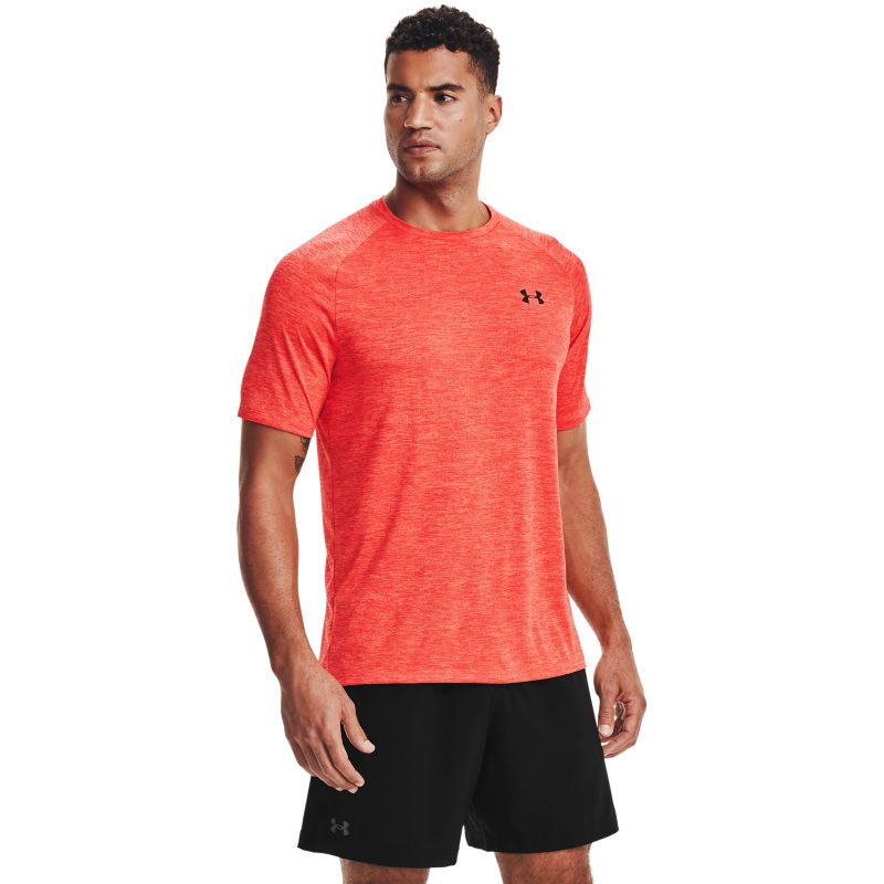 Red Under Armour men's gym t-shirt with UA logo from O'Neills.