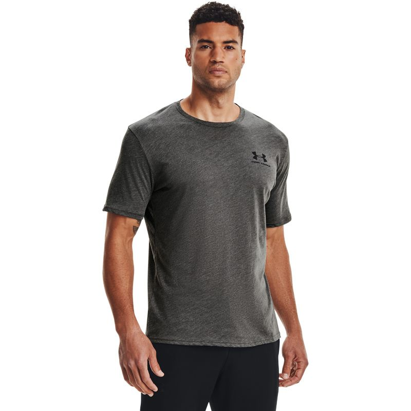 Grey Under Armour men's short sleeve t-shirt with black UA logo on left chest from O'Neills.