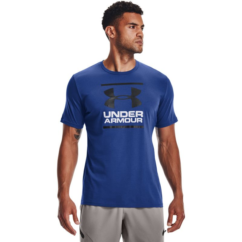 Blue Under Armour men's short sleeve t-shirt with printed logo from O'Neills.