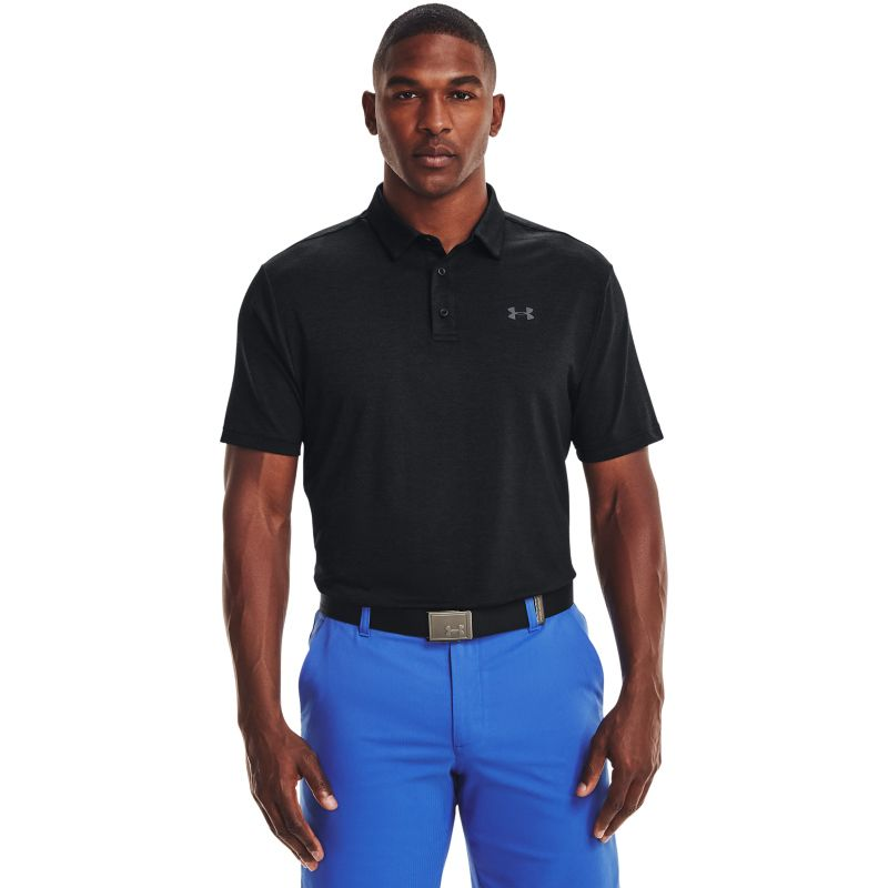 Black Under Armour men's polo shirt with grey UA logo on left chest from O'Neills.