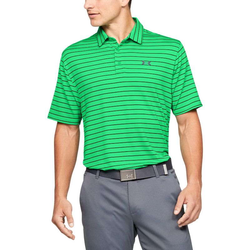 Green Under Armour men's polo shirt with black stripes from O'Neills.