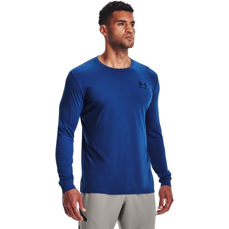 Blue Under Armour men's casual long sleeve t-shirt with UA logo from O'Neills.