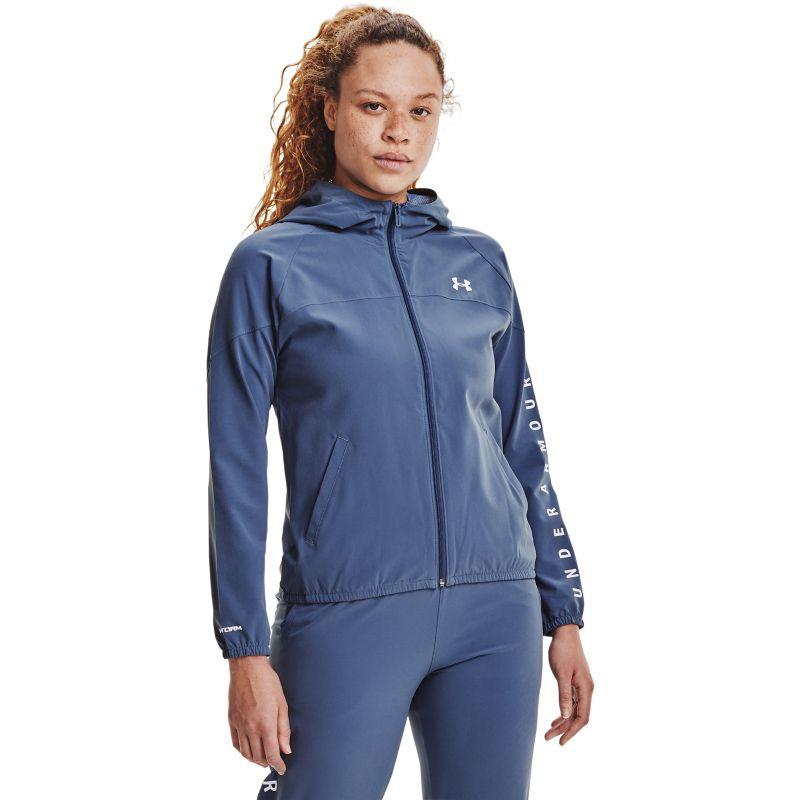 Blue Under Armour women's running rain jacket with hood from O'Neills.
