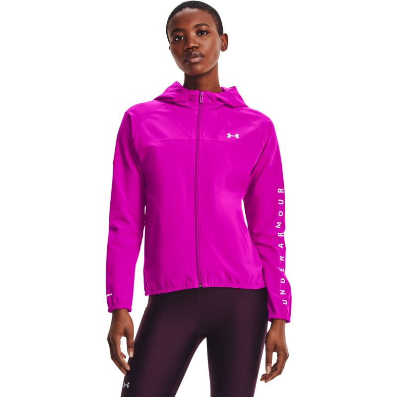 Under Armour Women's UA Woven Full Zip Hooded Jacket Hoodie Meteor Pink / White