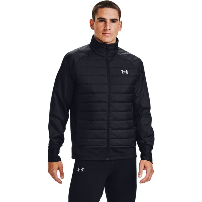 Black Under Armour men's waterproof padded jacket with pockets from O'Neills.