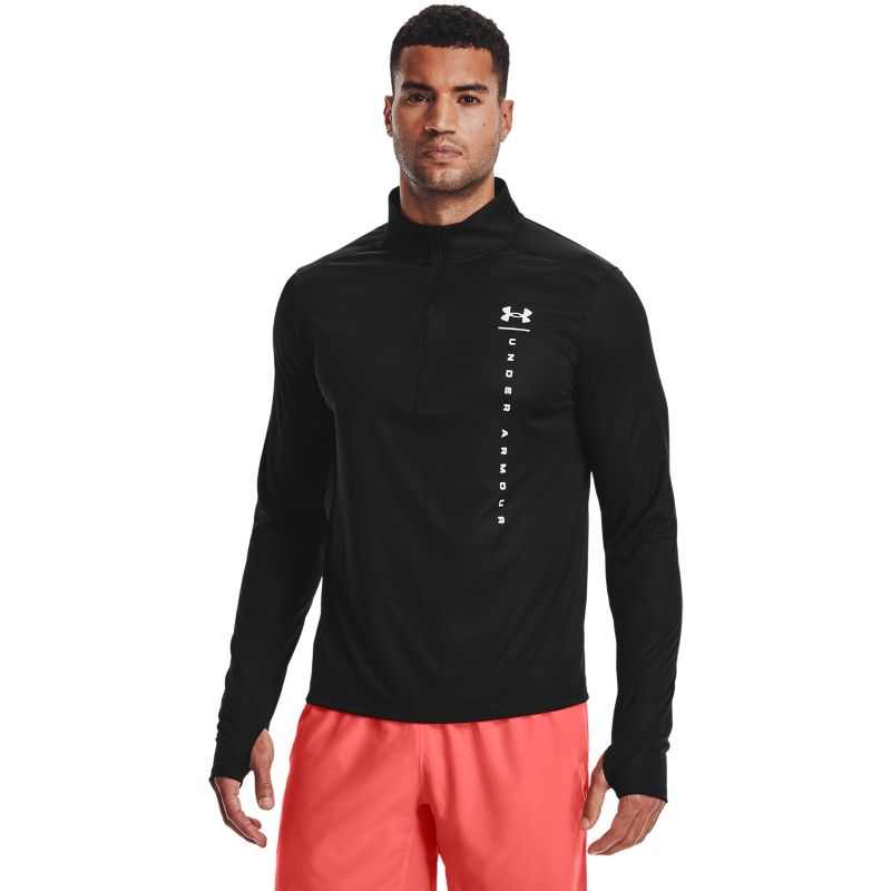 Black Under Armour men's running half zip top with reflective detail from O'Neills.