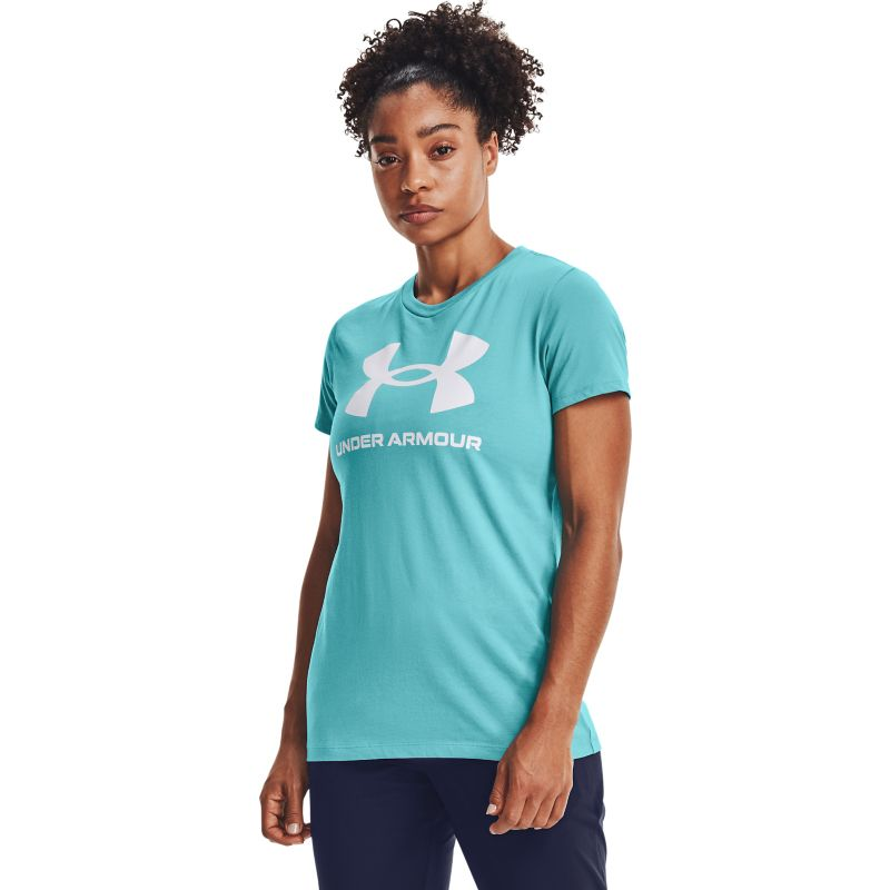 Blue Under Armour women's t-shirt with round neck from O'Neills.