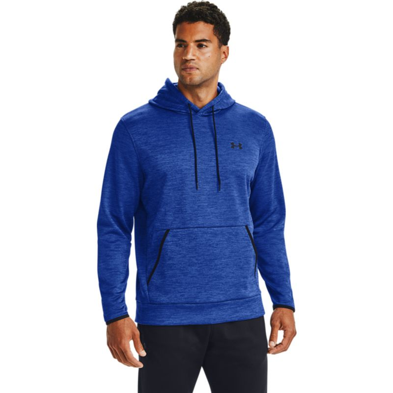 Blue Under Armour men's overhead hoodie with black UA logo on left chest from O'Neills.