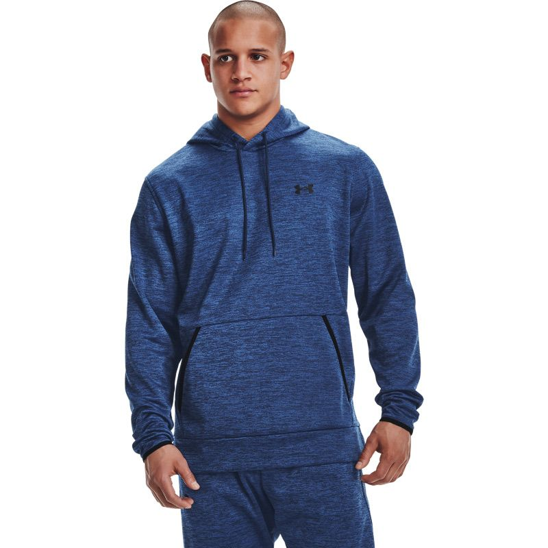 Navy Under Armour men's hoodie with black UA logo on left chest from O'Neills.