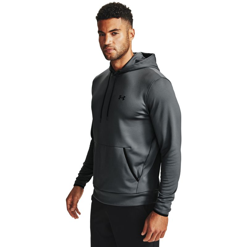 Grey Under Armour men's hoodie with black UA logo on left chest from O'Neills.