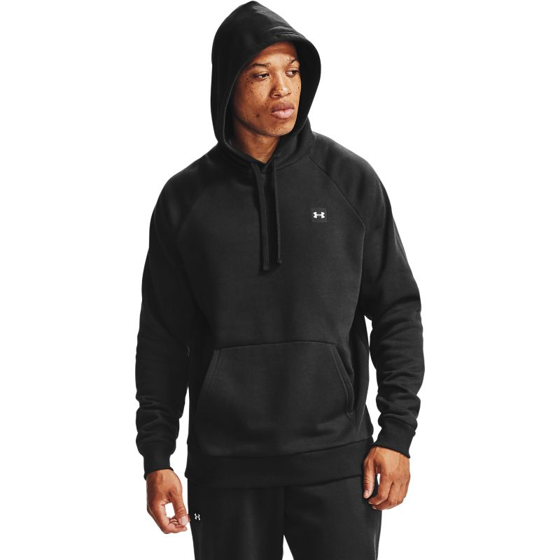 Black Under Armour men's hoodie with white embroidered UA logo on left chest from O'Neills.