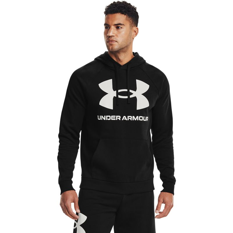 Black Under Armour men's hoodie with large white UA logo on front from O'Neills.