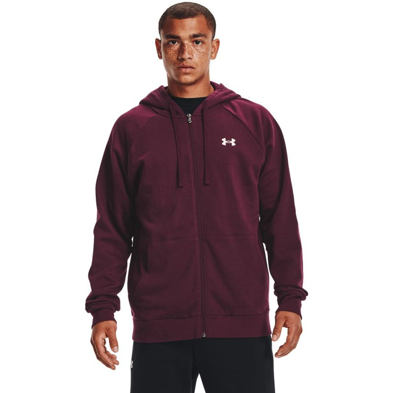 Maroon Under Armour men's full-zip hooded top with white UA logo on left chest from O'Neills.
