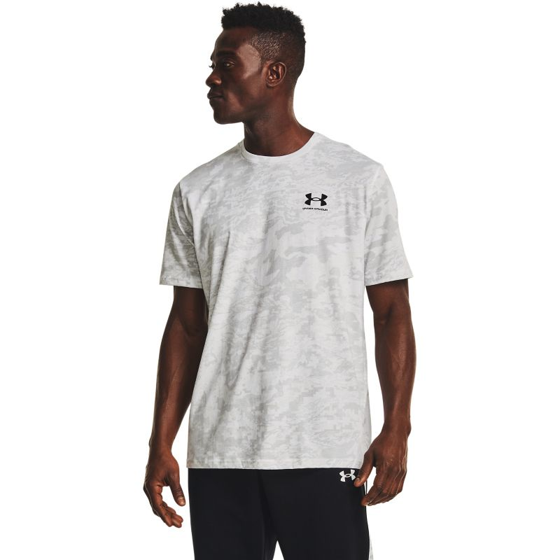 Grey Under Armour men's casual t-shirt with all over print from O'Neills.