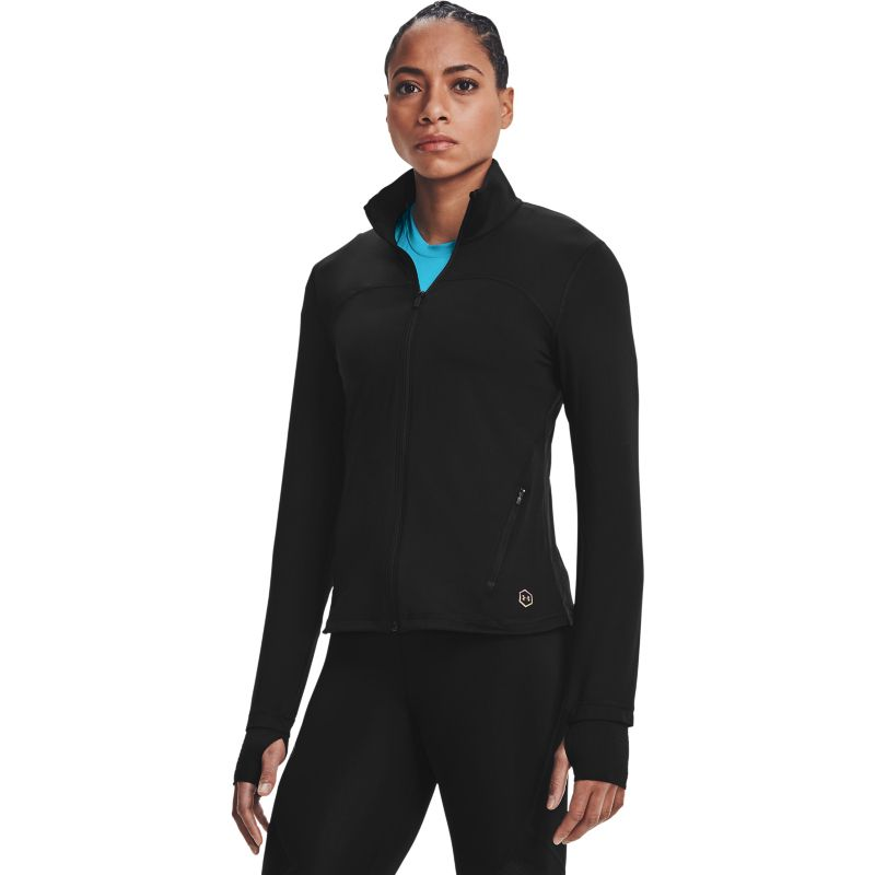 Black Under Armour women's full zip jacket with RUSH™ technology from O'Neills.