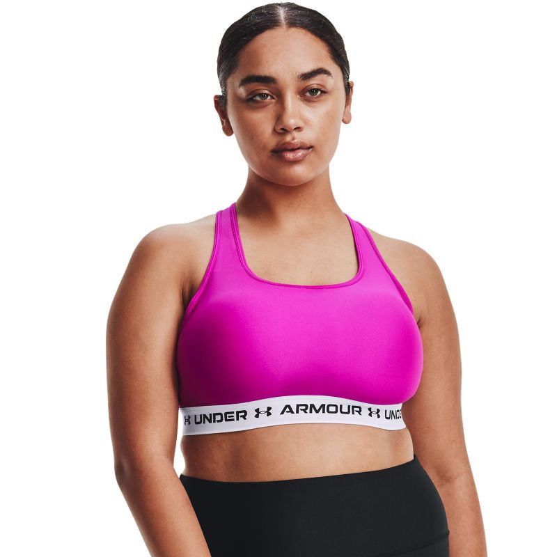 Pink Under Armour women's sports bra with crossback design from O'Neills.