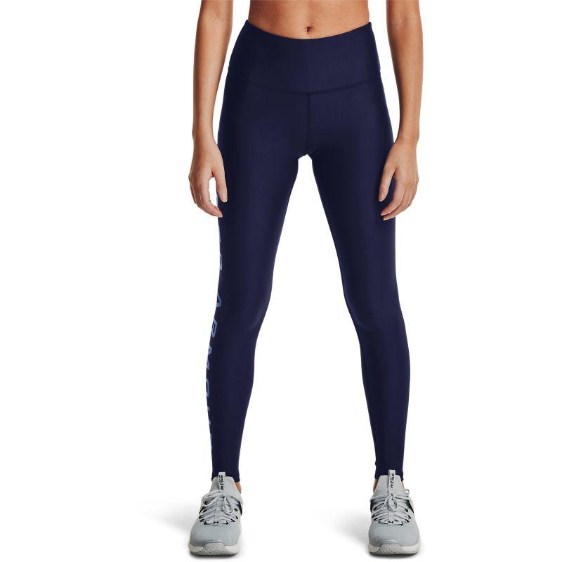 Navy Under Armour women's gym full-length leggings with blue UA wordmark print on right leg from O'Neills.