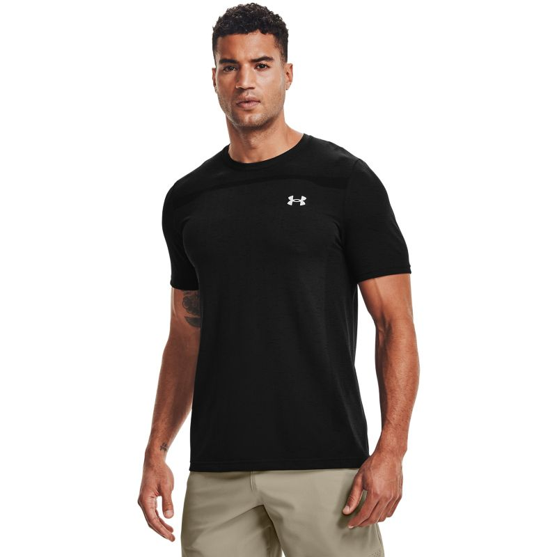 Black Under Armour men's gym t-shirt with short sleeves from O'Neills.