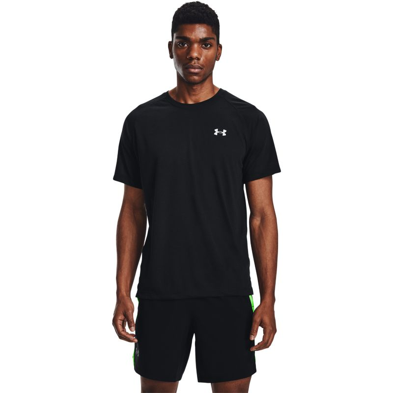 Black Under Armour men's running t-shirt with reflective detail from O'Neills.